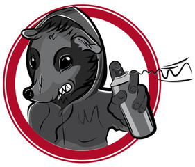 Vector badge with man rat graffiti