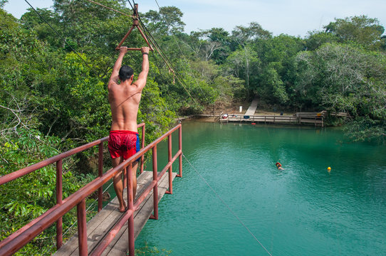 Getting ready for the big Jump, Bonito, Brazil