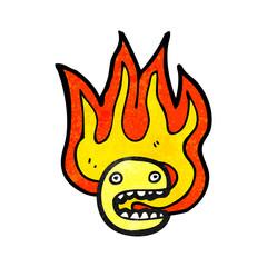 flaming face symbol cartoon