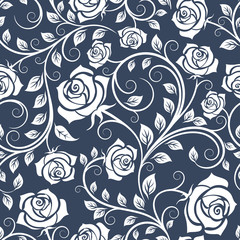 White and blue seamless pattern with roses