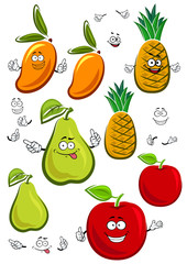Apple, mango, pineapple and pear fruits characters