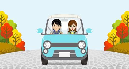 Autumn Driving Couple