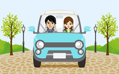 Driving car -Couple