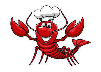 Cartoon red lobster chef in toque cap