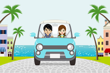 Driving Couple Summer Seaside town