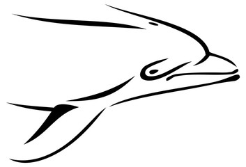 Outline head of dolphin isolated on a white background