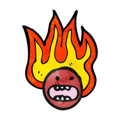 cartoon flaming emoticon face