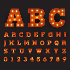 Alphabetic font carnival style with large round bulbs