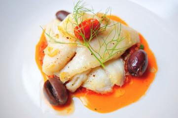 Sicilian stuffed swordfish with tomato sauce olives