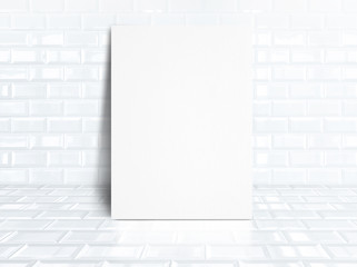 blank white paper poster at white tiles ceramic room,Business mo