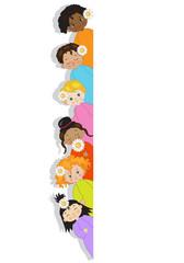 Bambini del Mondo - Bambini di varie etnie con spazio bianco per testo