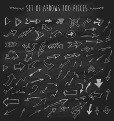 Arrows on chalkboard blackboard hand drawn