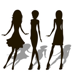 Woman Body Figure Silhouettes - Vector Art