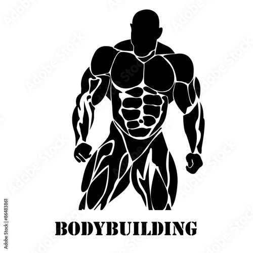 """Bodybuilding, power lifting, icon, black vector, flat"