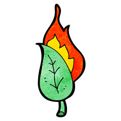 cartoon burning leaf