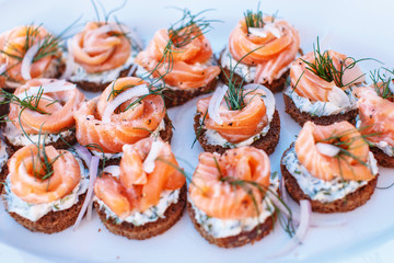 Snacks with salmon on white plate.