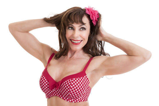 Beautiful Middle Aged Woman Portrait in Bathing Suit