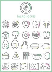 Salad icons set vector