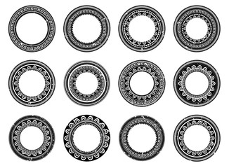 Set of circle polynesian tattoo