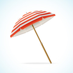 Obraz Vector Beach Umbrella Red and White - fototapety do salonu