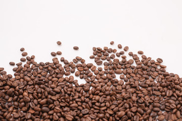 stripe of coffee beans isolated