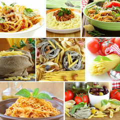 collage of different kinds of italian pasta