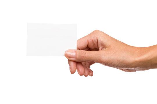 Hand Holding Blank Card. Studio shot isolated on white.