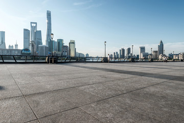 panoramic skyline of shanghai with empty street floor Wall mural