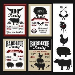 Barbecue invitations and objects set