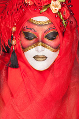 portrait of a woman with makeup stylized Venetian mask