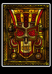 Decorative fantasy scull or a mask or face of the God or a monster like Maya or Aztec style