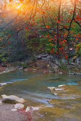 mountain stream in autumn at sunset