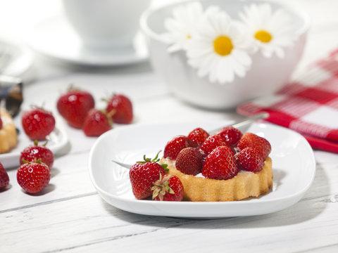 Strawberry shortcake on coffee table
