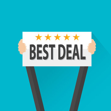Businessman holding best deal rating stars sign, vector