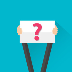 Businessman holding question mark sign, vector