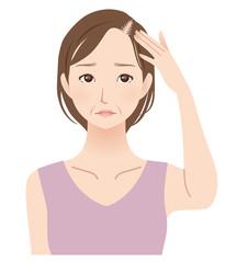 薄毛に悩む女性 中年