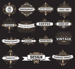 vintage logo template, Hotel, Restaurant, Business Identity set.