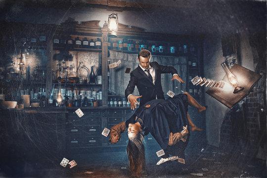 Magic moment - girl levitates