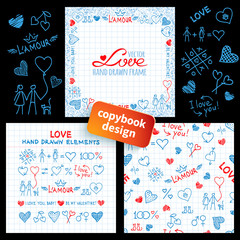 Big set of hand drawn love elements