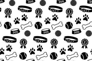 Seamless pattern with dog's stuff