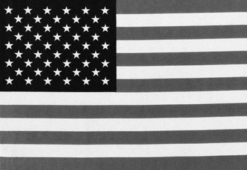 Black and white image of the Stars and Stripes flag of the United States Of America background