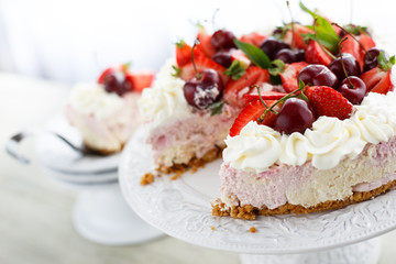 Cherry and strawberry tart