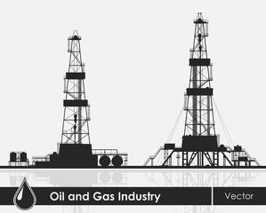 Set of oil rigs silhouettes