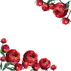 Pattern with red fragile roses and copy space