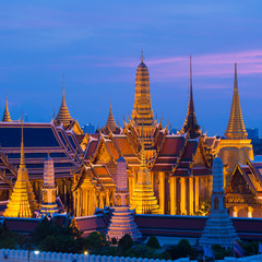 Wat Phra Kaew,Grand Palace during twilight time