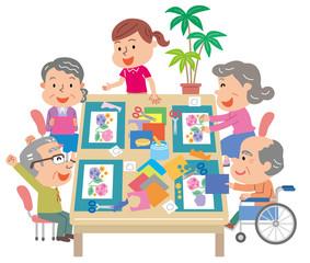 デイサービス レクリエーション 高齢者 介護スタッフ イラスト