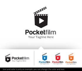Pocket Film Logo Design Template Vector