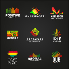 Set of positive africa ephiopia flag logo design. Jamaica reggae