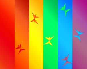 Colorful Silhouettes Dance in Celebration Across a Rainbow Pride Flag