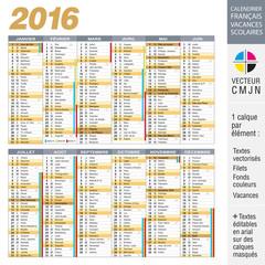 Calendrier français 2016 avec vacances scolaires